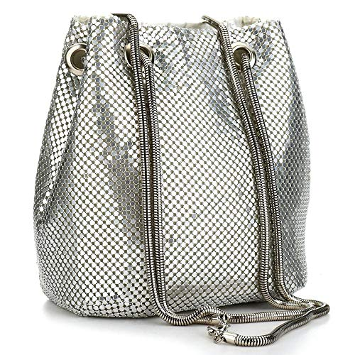 Sequin Evening Handbags Clutch Bucket Bag Shoulder Purses crossbody bags for Women (Silver)