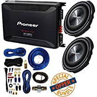 (2) PIONEER 12 1,500-Watt Shallow-Mount Subwoofer with Single 4ohm Voice Coil + 2,400-Watt Class D Mono Amp W/ 4 Gauge Amp Kit