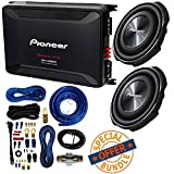 (2) PIONEER 12'' 1,500-Watt Shallow-Mount Subwoofer with Single 4ohm Voice Coil + 2,400-Watt Class D Mono Amp W/ 4 Gauge Amp Kit