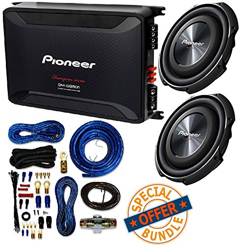 "(2) PIONEER 12"" 1,500-Watt Shallow-Mount Subwoofer with Single 4ohm Voice Coil + 2,400-Watt Class D Mono Amp W/ 4 Gauge Amp Kit"