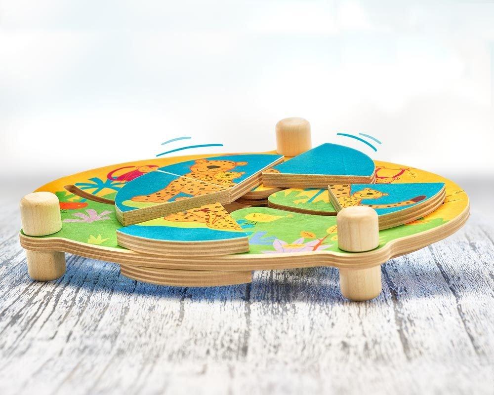 Selecta 62062 Schiebepuzzle Dschungel Motorikspielzeug aus Holz 24 cm