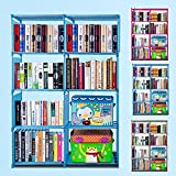 Dicesnow Kids Plastic Bookshelf Portable 4 Shelf Multifunctional Bookcase DIY Adjustable Heights with 8 Book Shelves (US Stock)(Blue1)