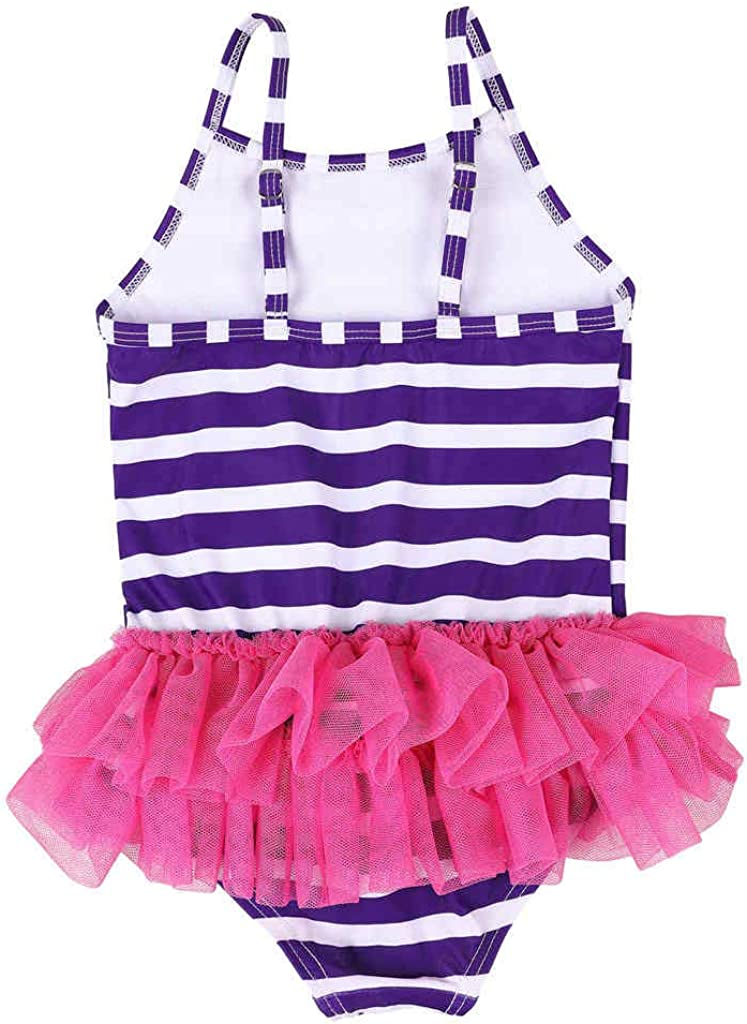 BeautyIn Baby Girls One Piece Swimwear Ruffle Swimsuit Striped Swimming Cosutme