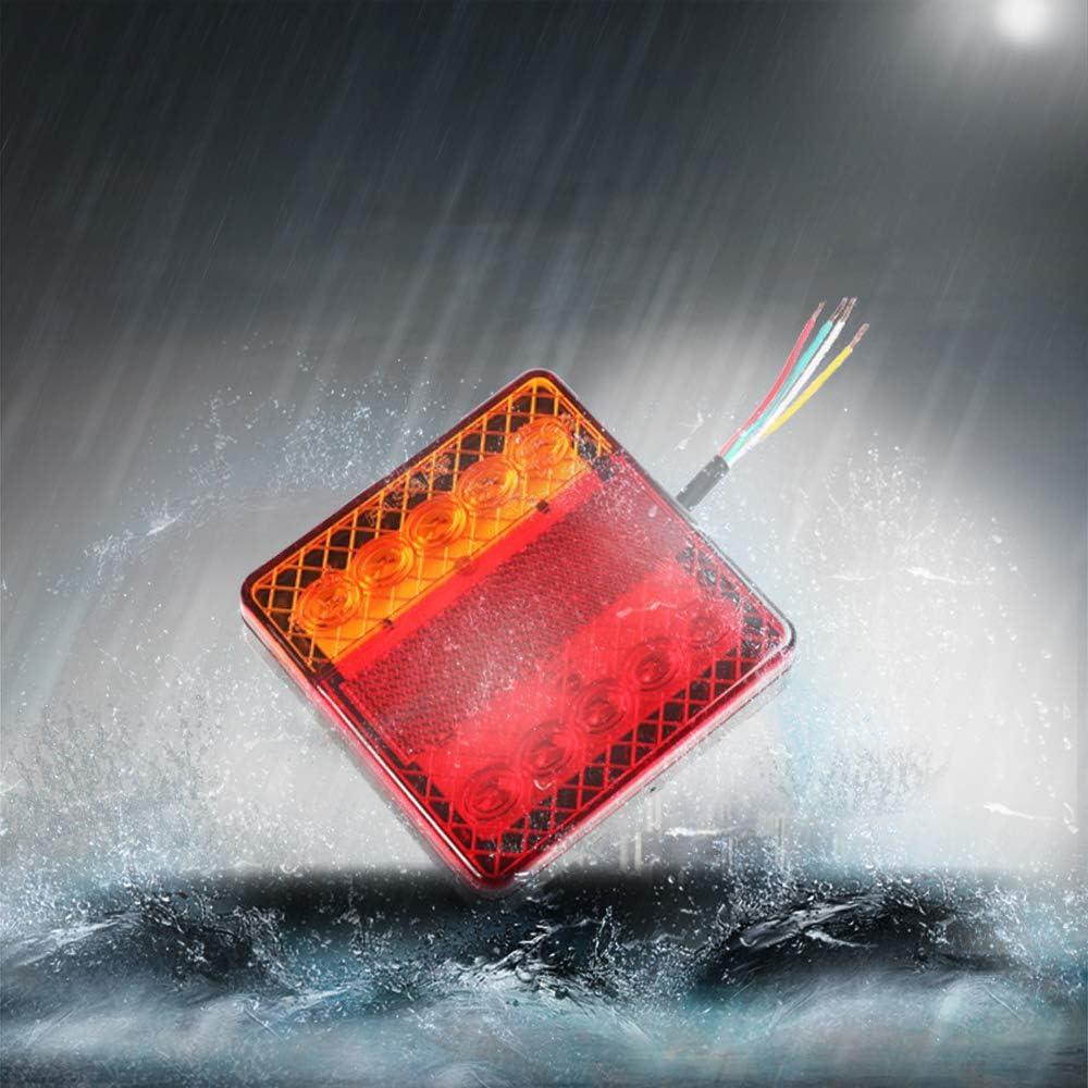AOHEWEI Feux Arri/ère LED de Remorque 12V Lampe de Camion Feux de Frein Eclairage Indicatrice Imperm/éable Parfait pour Camion Caravane/Tracteur ou Moto 10 led chips- A, 1 paire