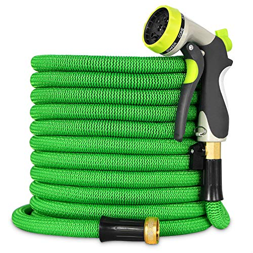 Besiter Expandable Garden Hose-New 2018 100ft {UPGRATED} Expanding Hose with 3/4 Heavy Duty Brass Connectors-Lightweight and Kink Free Flexible Water Hose with 8 Function Metal Spray Nozzle-Green