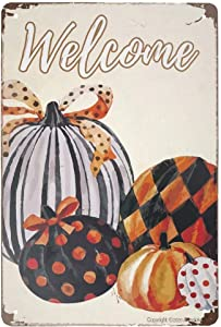 Retro Metal Sign Vintage Tin Sign Welcomee Pumpkin Fall Sign for Plaque Poster Cafe Wall Art Gift 12 X 8 INCH