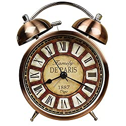 Nikauto Retro Alarm Clock, Vintage Room Clock Home Desk Table Lamp Clock with Ultra Mute Non Ticking Sweep Second Hand HD Glass Lens Battery Operated (Bronze)