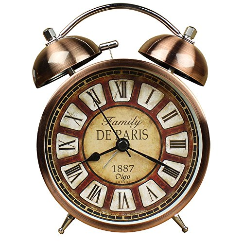 Retro Alarm Clock, Vintage Room Clock Home Desk Table Lamp Clock with Ultra Mute Non Ticking Sweep Second Hand HD Glass Lens Battery Operated (bronze)