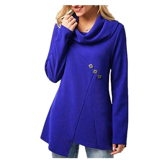 SHOBDW Mujer Botón de Cuello de Capucha Adornado Blusa de Camisa Azul Real Top (Azul