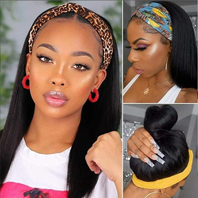 Headband Wig Straight Human Hair Wig None Lace Front Wigs For Black Women Brazilian Straight Machine Made Wigs With 5 Fashion Headbands 150 Density Glueless Wig Natural Color Beauty Amazon Com