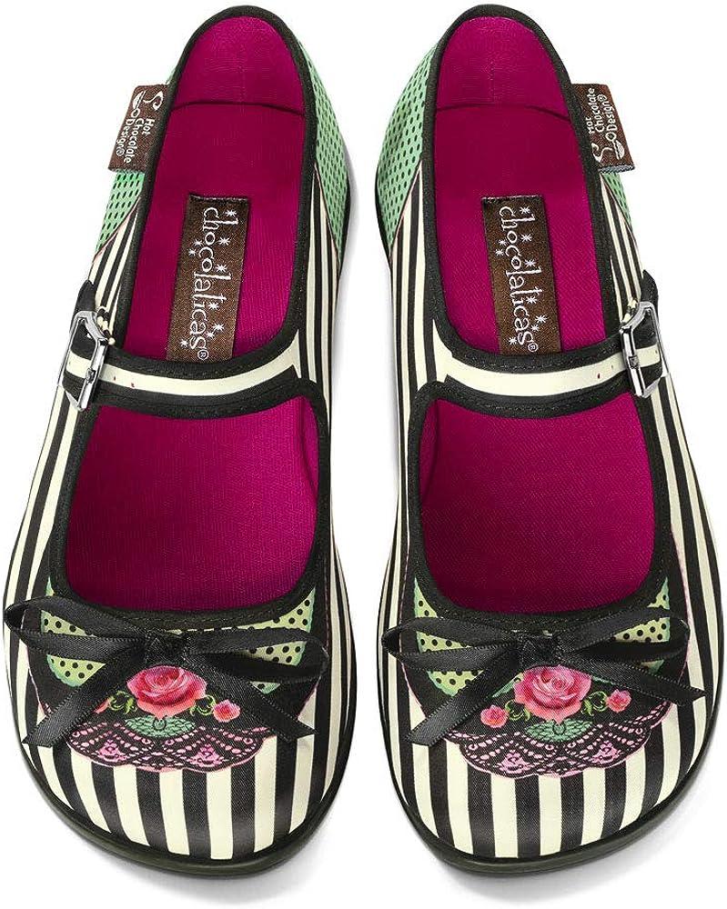 Hot Chocolate Design Chocolaticas Dark Gothic Canvas Womens Mary Jane Flat Shoes