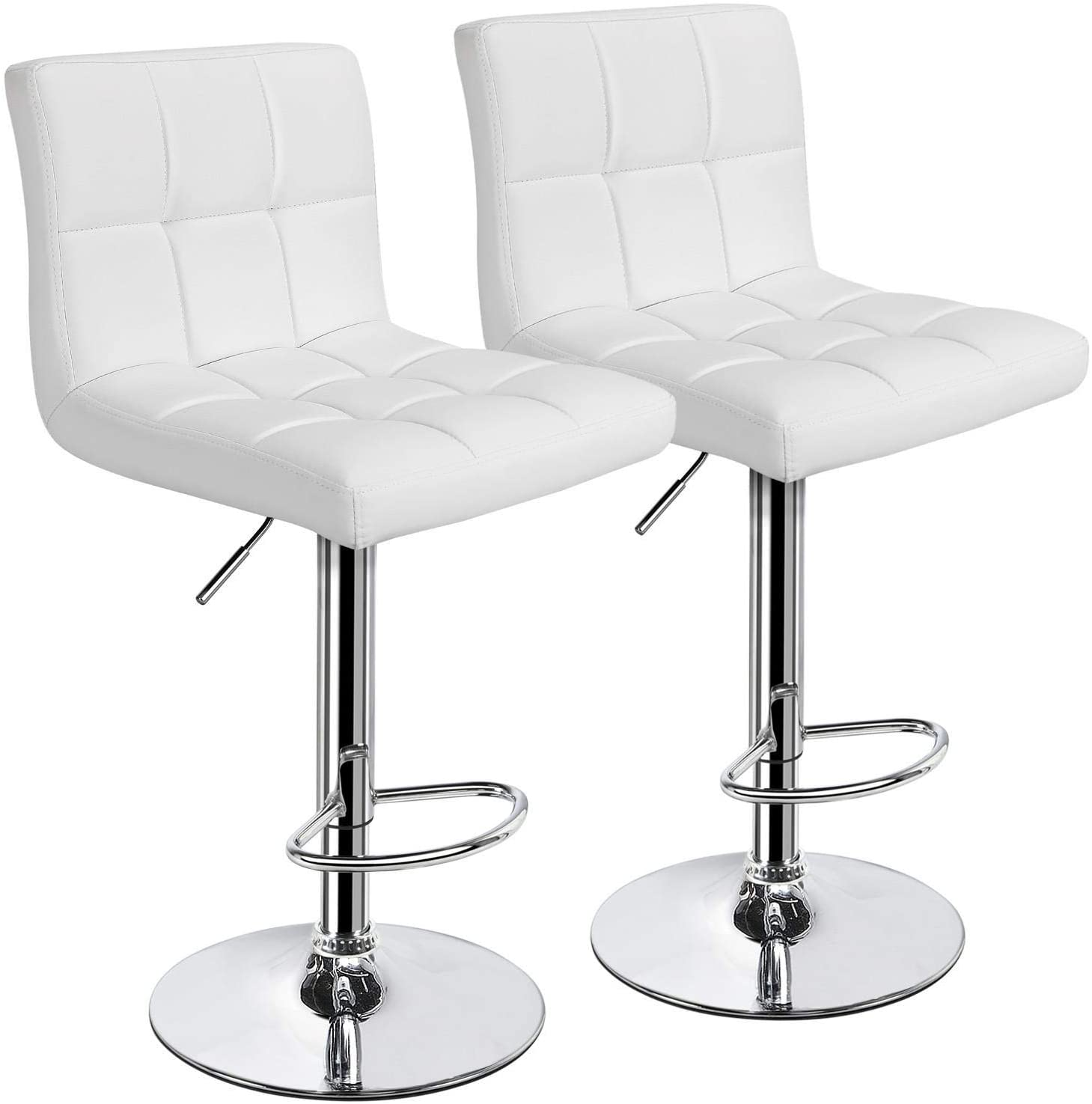 Yaheetech X-Large Bar Stools - Square PU Leather Adjustable Counter Height  Swivel Stool Armless Chairs Set of 8 with Bigger Base, White