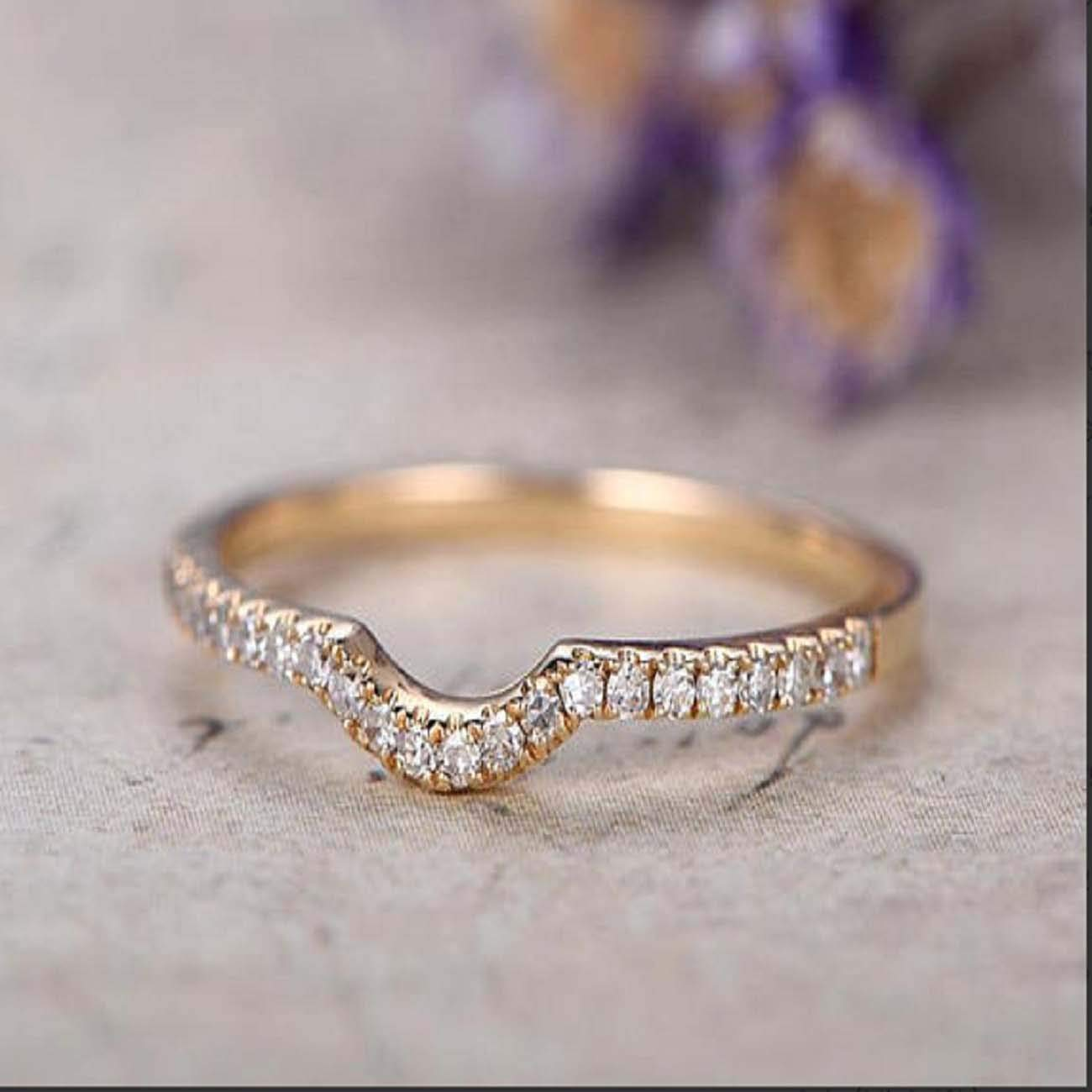 RUDRAFASHION White Diamond Wedding Anniversary Band Ring Half Eternity Curved Band 14k Yellow Gold Over .925 Sterling Silver Promise Ring for Her