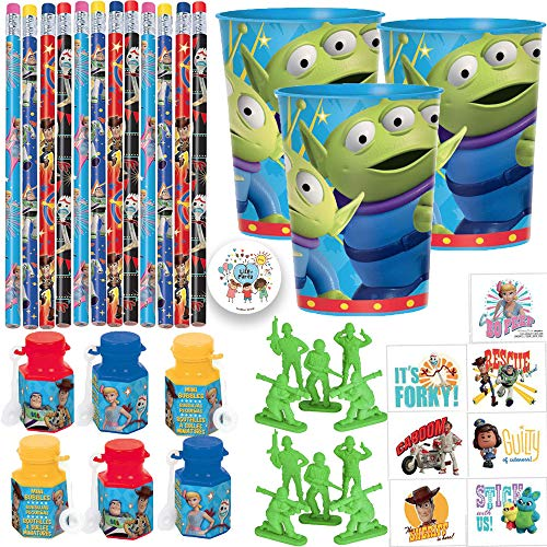 (Toy Story 4 Birthday Party Favors Pack For 12 With Buzz Woody Bo Peep and Forky Pencils, Mini Bubbles, Toy Story Alien Favor Cups, Toy Army Men Erasers, Tattoos, and Exclusive Pin)