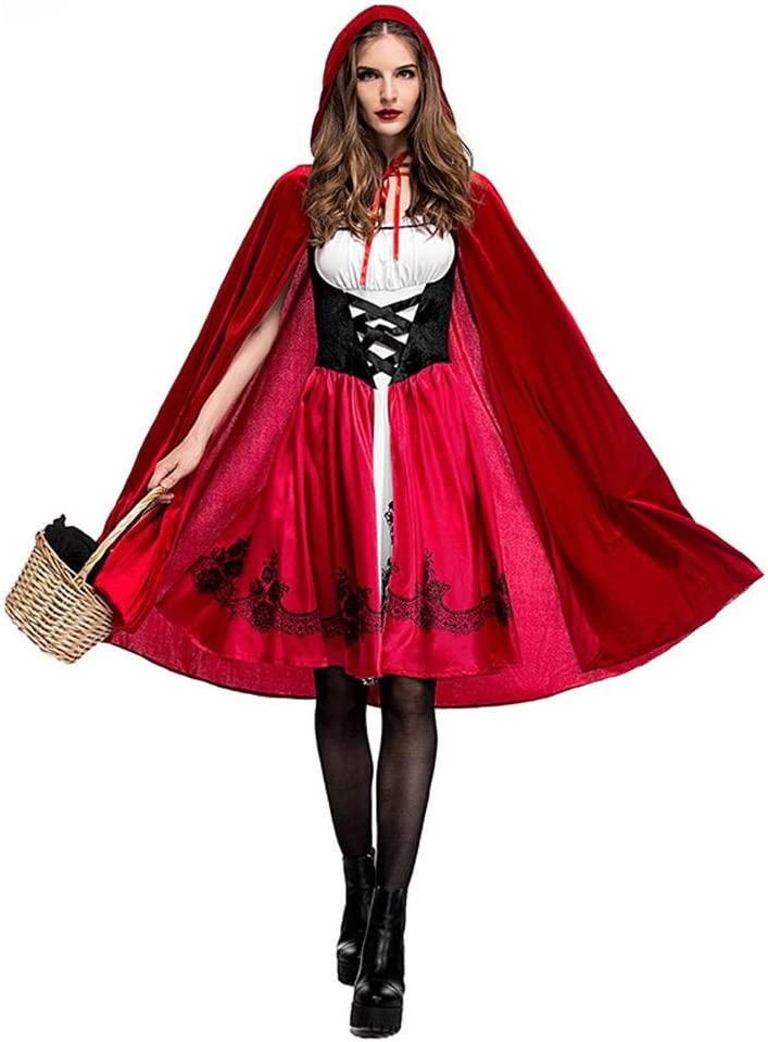 Disfraces Caperucita Roja para mujer, Halloween Fiesta de Navidad Juego de roles Adulto Cosplay Vestido Fiesta Discoteca Reina Disfraz, M/L/XL/XXL