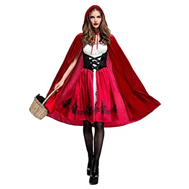 Leo565Tom Halloween Déguisement Femme Cosplay Costume Petit Chaperon Rouge  Costume de Noël Fille Fancy Dress Costume pour Adulte Accessoire