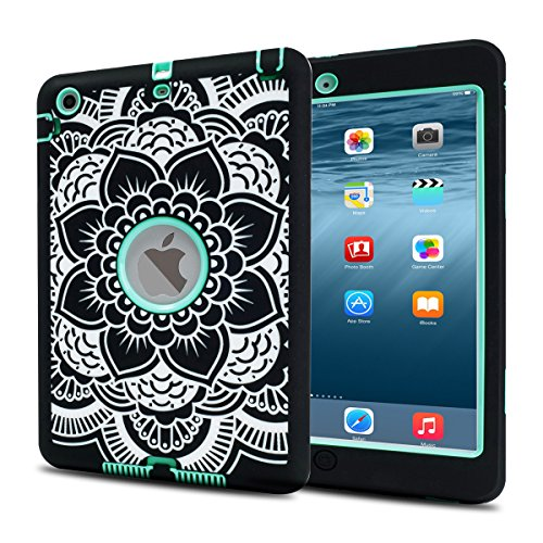 MAKEIT CASE iPad Mini Case iPad Mini 2 Case Shock-Absorption / High Impact Resistant Hybrid Dual Layer Armor Defender Full Body Protective Case Cover for iPad Mini 1 2 3 generations (Mint Green)