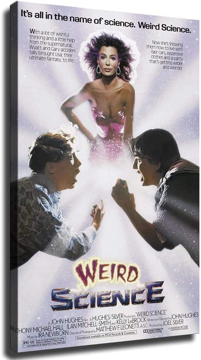 Weird Science Poster Picture Art Print Canvas Wall Art Home Living Room Bedroom Decor Mural (12×18inch-Framed)