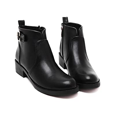e0e0140def396 Meeshine Women Black Low Chunky Heel Zip Up Leather Round Toe Buckle Strap Ankle  Boots (