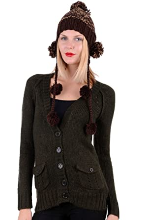 Womens Wooly Hat With Ear Flaps Ladies (Black)  Amazon.co.uk  Clothing 82c61e6595c