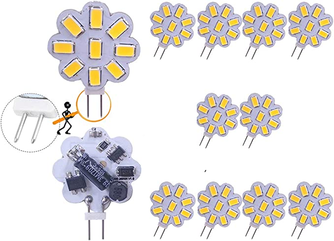 10x G4 Bi-Pin 72-3014 LED Light Bulb 12-24V Lights Crystal Lamp Cool White 6500K