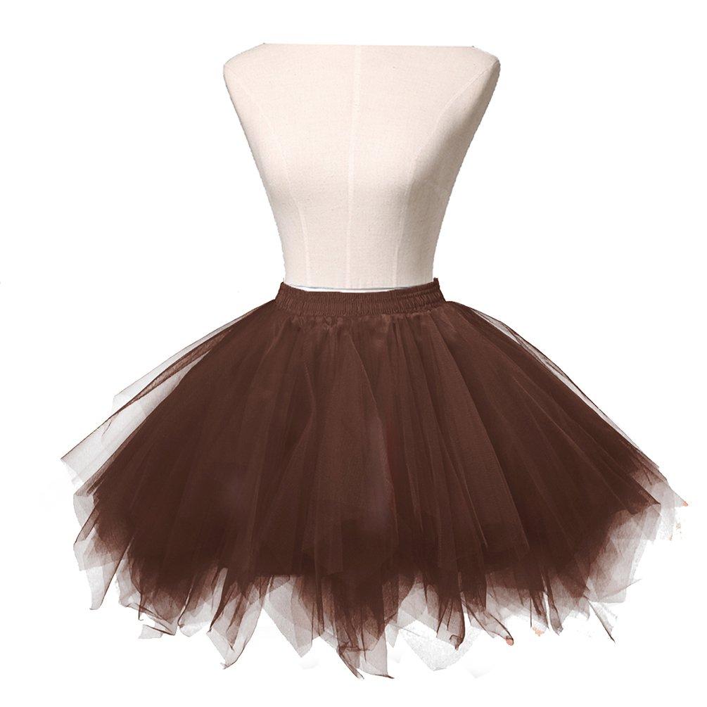 Brown Dresstore Women's Short Vintage Petticoat Skirt Ballet Bubble Tutu Multicolord