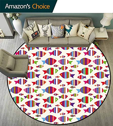 Kids Round Rug Girls Bedroom,Underwater Aquarium Inspired Pattern with Vibrant Striped Fishes Opposite Directions Reusable and Easy to Clean,Multicolor,D-59