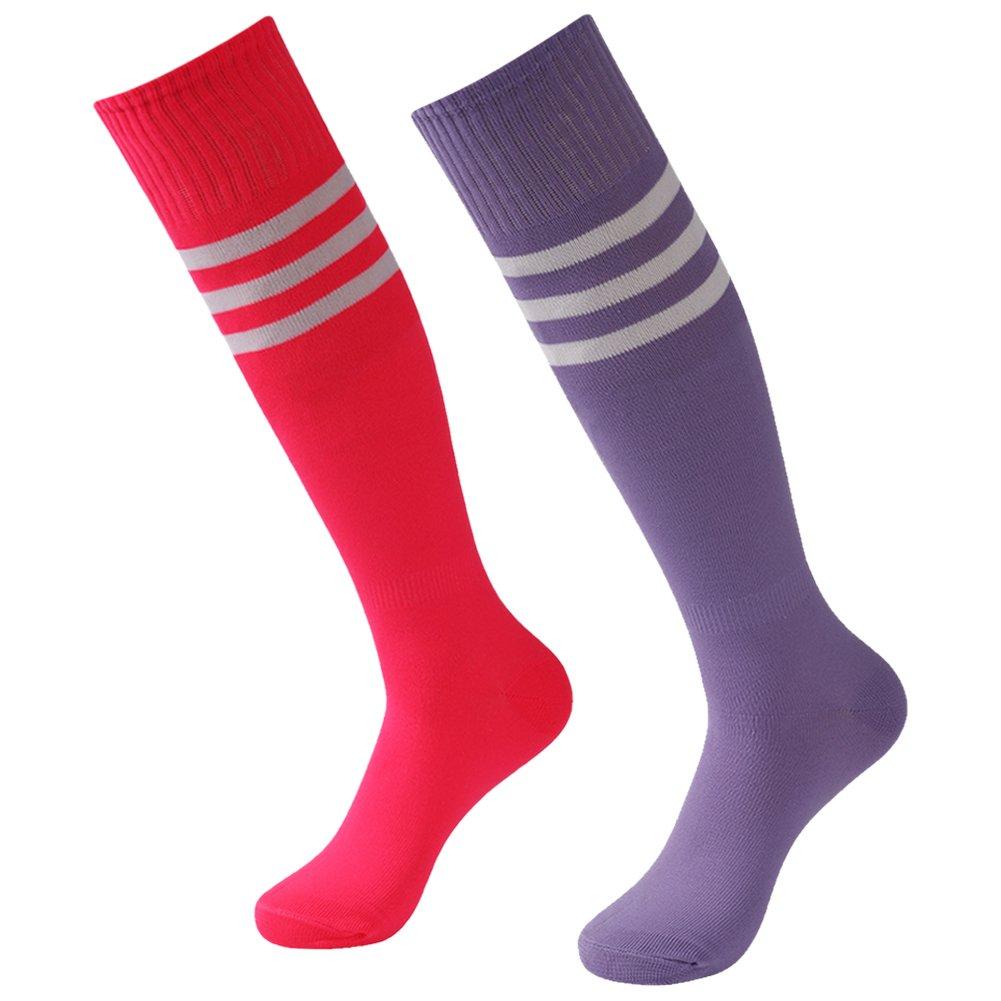 3street ユニセックス ニーハイ トリプルストライプ アスレチック サッカー チューブ ソックス 2 / 6 / 10組 B0791BQ98V Purple+White Stripe&Hot Pink+White Stripe Purple+White Stripe&Hot Pink+White Stripe