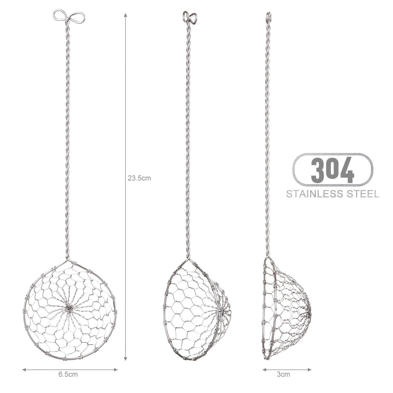 23.5x6.5 cm GWHOLE Set of 4 Stainless Steel Fondue Sieves Kitchen Skimmer