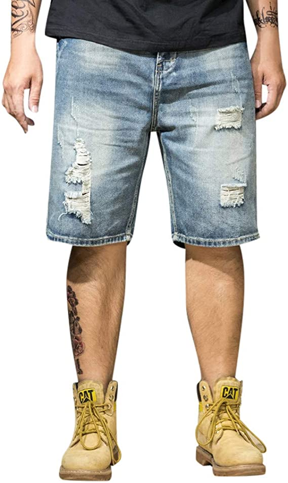 Mens Denim Shorts Light Fashion Semi Baggy Causal Jeans Summer Shorts