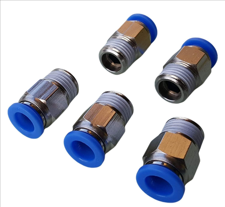 5 St/ück Steckerverschraubung Push In konisch Schnellstecker R 1//2 x 6mm