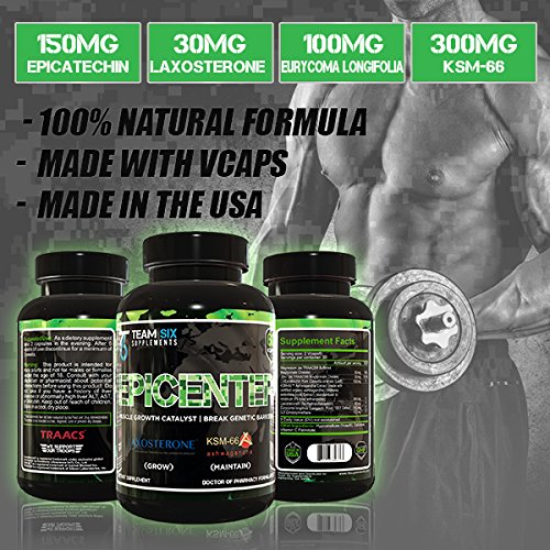 EPICENTER - The Best Natural Testosterone Booster for Muscle Growth & Lean Strength Gains ● Top Muscle Building Supplement with Epicatechin & Patented Laxogenin, Rapid Muscle Builder, 60 V-Caps
