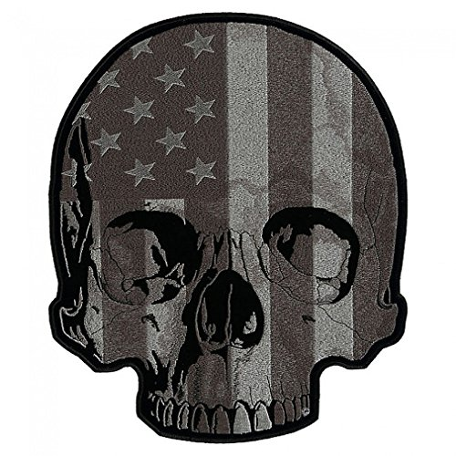 Leather Supreme Subdued USA American Flag Half Skull Biker Patch-Gray-Large
