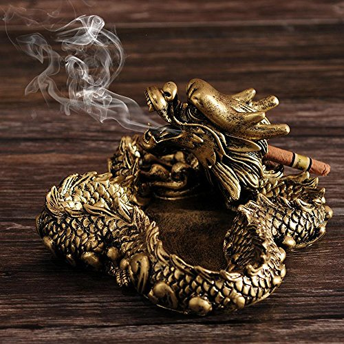3D Dragon Ashtray Chinese Characters Flow Smoke Dragon Resin Cigarette holder Table Decoration Christmas Gift
