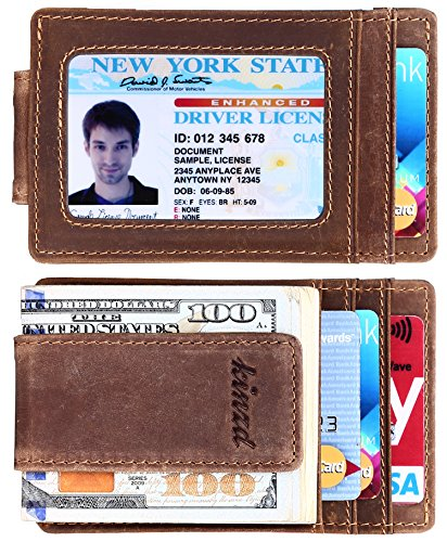 Front Pocket Leather - Money Clip, Front Pocket Wallet, Leather RFID Blocking Strong Magnet thin Wallet (one size,Khaki (Id Window Crazy Horse Leather))