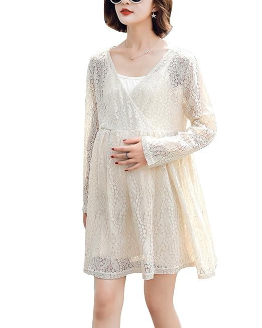 Premamá Vestidos Camisetas Manga Larga Embarazo Blusas De Encaje Crochet Mujer Mama Camisas De Maternidad Beige