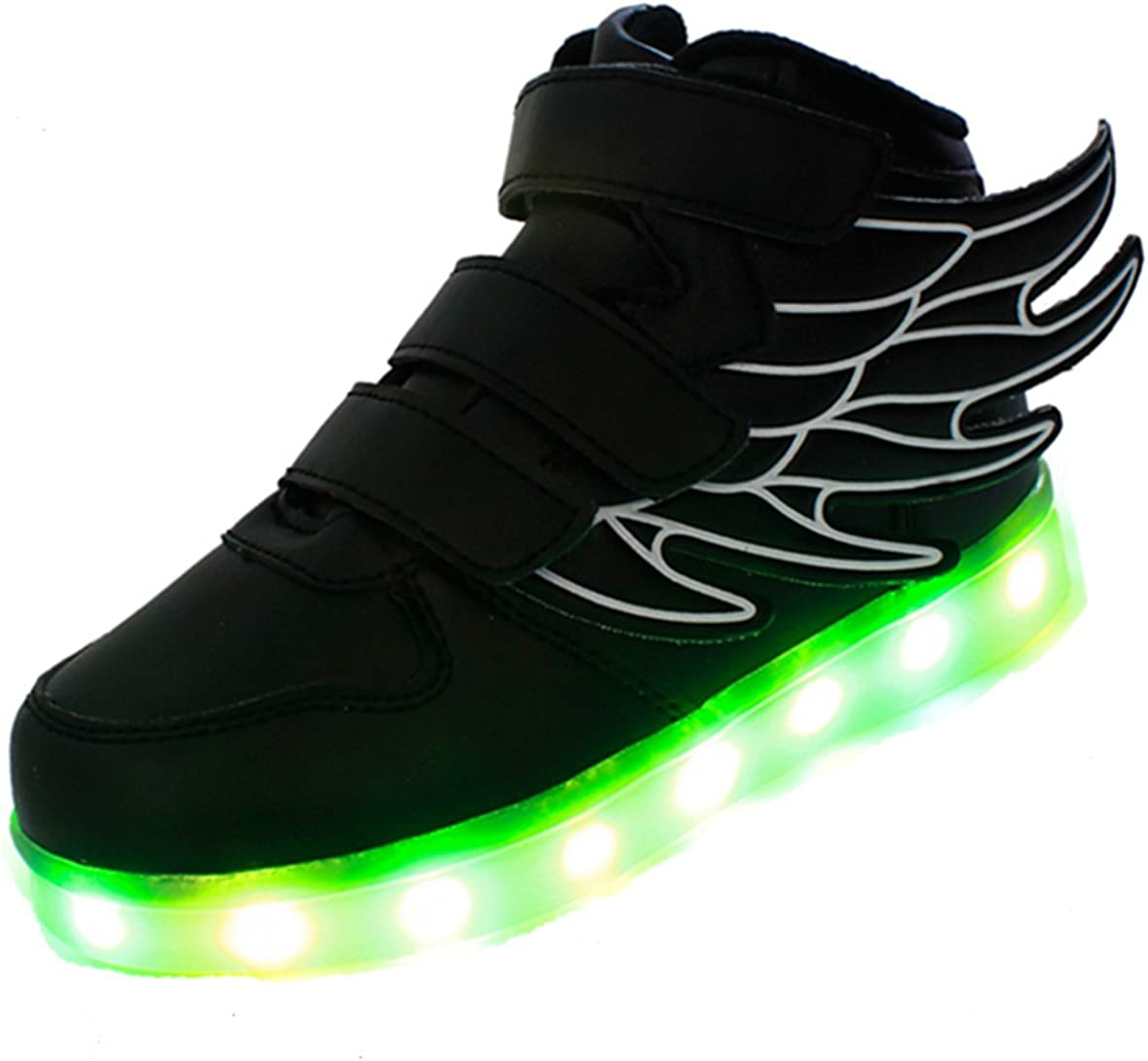 HarlanLi Boys Girls Wings Led Light Up Shoes USB Charging Flashing Fashion Sneakers Black