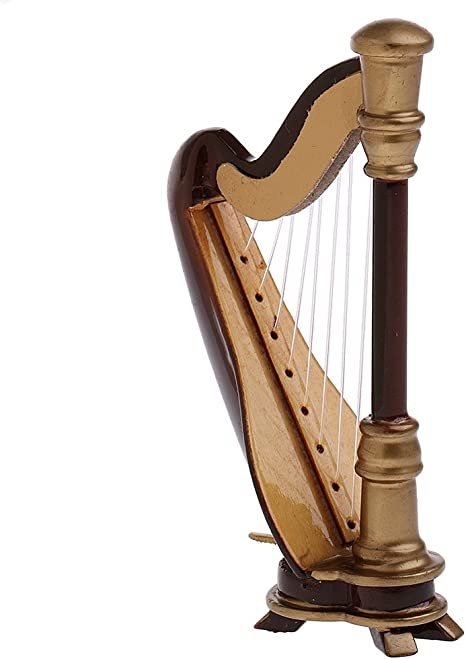 1//12 Doll Model Wooden Harp Music Instrument Toy for 11-12cm Dragon BBI Figures