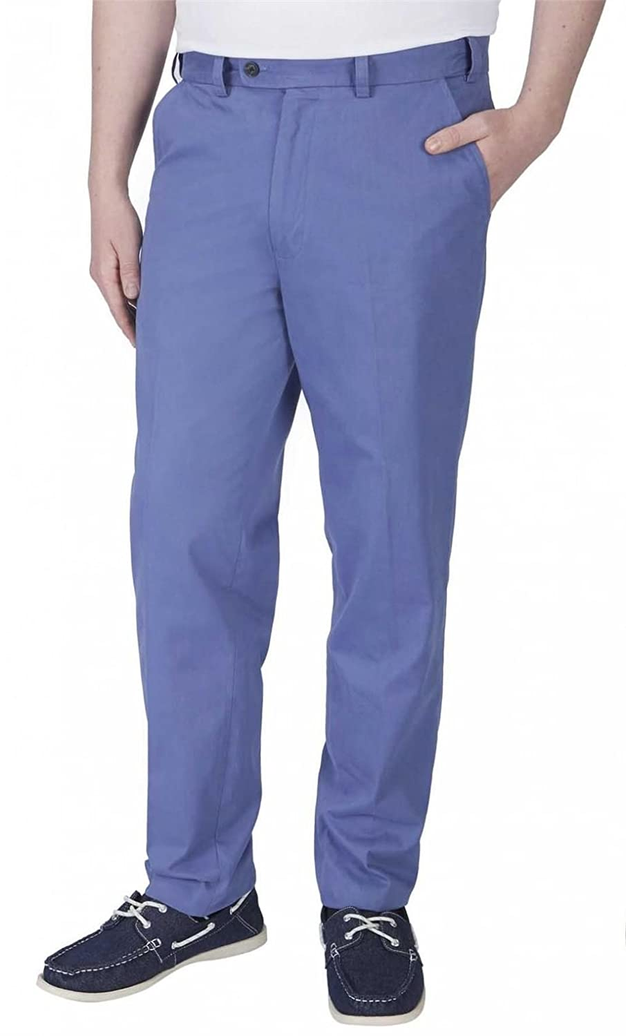 SKOPES STRETCH WAIST PURE COTTON CHINO TROUSERS IN BRIGHT BLUE IN WAIST 42 TO 54,L29/31/33