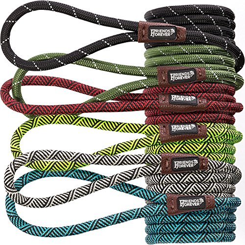 emely Durable Dog Rope Leash, Premium Quality Mountain Climbing Rope Lead, Strong, Sturdy Comfortable Leash Supports The Strongest Pulling Large Medium Dogs 6 feet, Blue ()