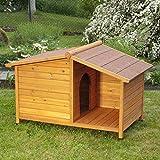 Caseta de perro de madera Resistente y atractiva caseta de madera de exterior con patio…