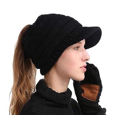 3ff236fd7ad SIYWINA Bonnet Hiver Femme en Tricot avec Trou pour Queue de Cheval Beanie  Hat