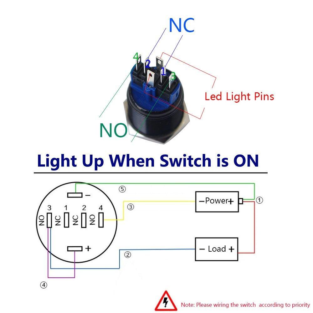 amazon com yakamoz dc12v 22mm 7 8 mounting hole red ring led rh amazon com 2 Pin Momentary Switch Wiring A Non Momentary Switch Wiring