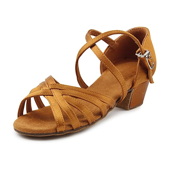 MSMAX Girls Latin Dance Shoe Satin 1.1inch Heel Practice Party Ballroom Wear Brown 1.5 M US Little Kid