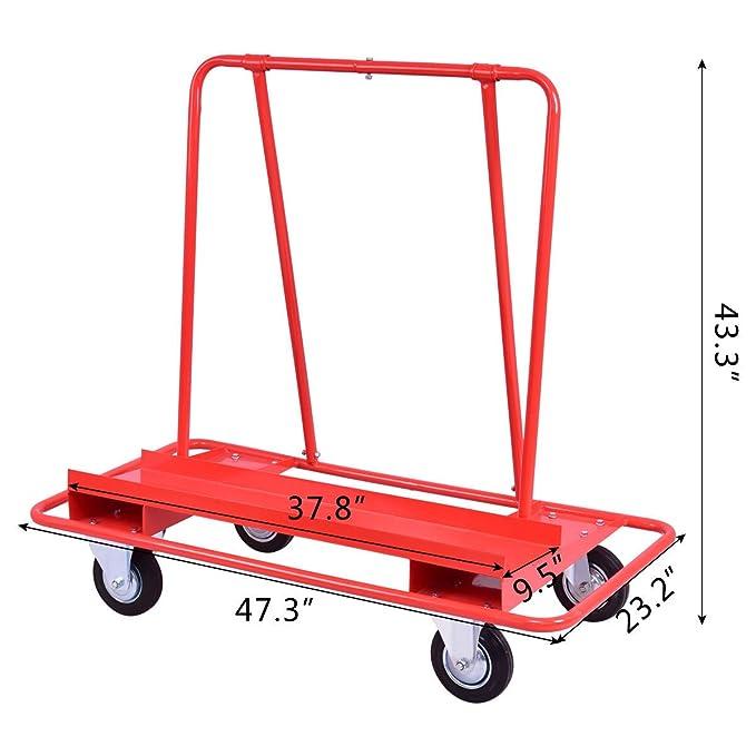 KCHEX>>Drywall Cart Dolly Heavy Duty Handling Sheetrock Panel Service Cart Red >>Es conveniente para mover y posicionar con dos ruedas fijas y dos ruedas ...
