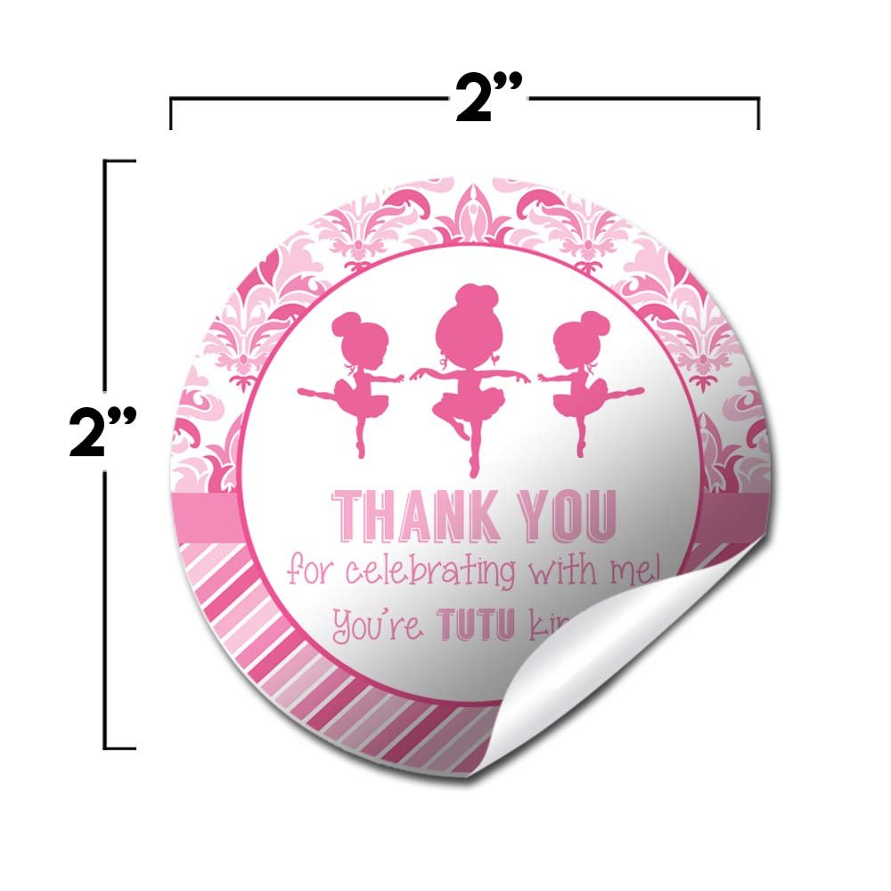 Dance & Twirl Pink Ballerina Thank You Birthday Party Sticker Labels, 20 2'' Party Circle Stickers by AmandaCreation, Great for Party Favors, Envelope Seals & Goodie Bags by Amanda Creation (Image #2)
