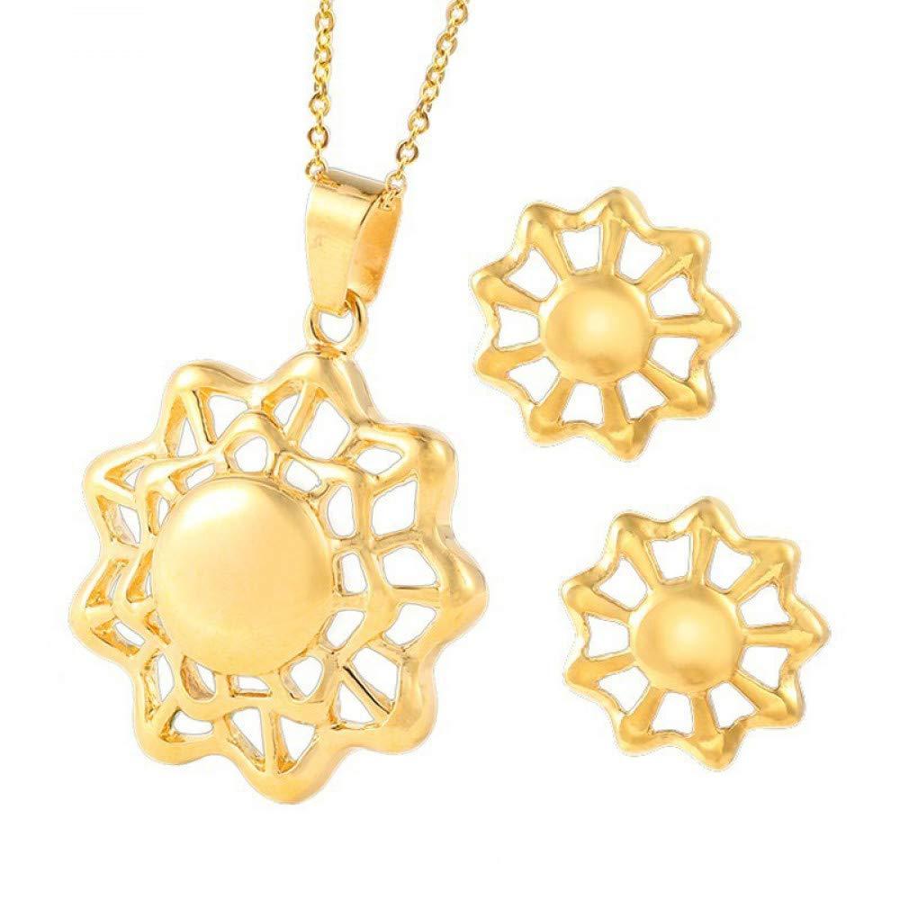 中空ビーズの宝石類のネックレスセットが付いているBurenqiのステンレス鋼の花中空ビーズのペンダントイヤリングが付いている方法金の花、金   B07L3PQH5G