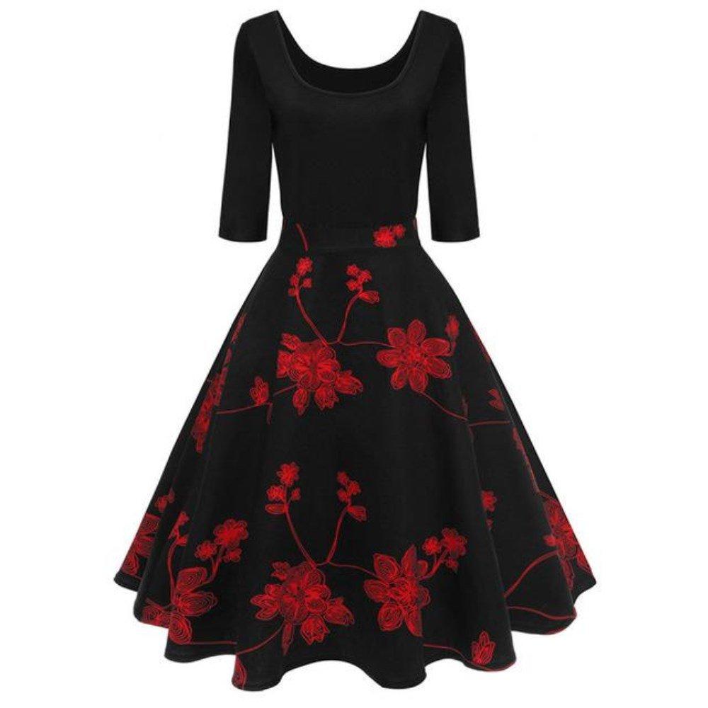 KuDress 2018 New Red Floral Printed Vintage Dresses Half Sleeve Party Dressed (2XL, Black)