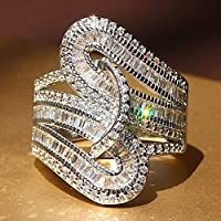 Gorgeous Fashion Women 925 Sterling Silver White Topaz Ring Engagement Jewelry (8)
