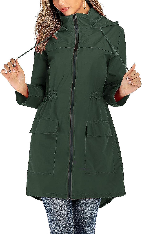 IKWOLETI Womens Lightweight Hooded Waterproof Raincoat Windbreaker Packable Active Outdoor Rain Jacket Army Green Medium